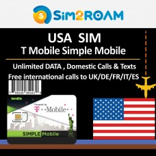 USA Prepaid SIM Card- 10 Days Unlimited 4G Data, Calls, Texts+ Free international Calls to 69+ Countries, US Simple Mobile T-Mobile Network Coverage in United States Nationwide