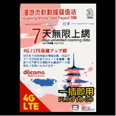 Japan Docomo Unlimited SIM - 7 Days Prepaid Data SIM Card